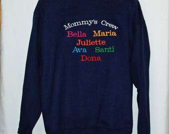 Mommy Sweatshirt, Gang, Crew, Custom Personalize Grandparent Gift, With Five Names, Lolly,  Gramm, Ships TODAY, AGFT 1240