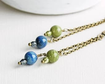 Long Green Jade and Blue Lapis Stone Dangle Earrings on Antiqued Brass