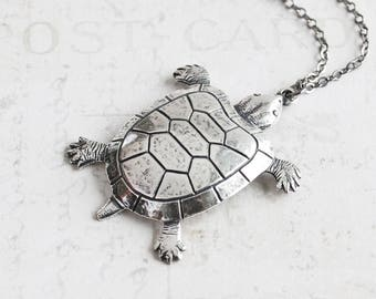 Large Antiqued Silver Plated Turtle Tortoise Pendant Necklace on Gunmetal Black Chain