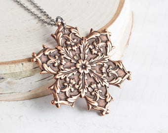 Large Antiqued Copper Plated Rustic Snowflake Pendant Necklace on Gunmetal Chain