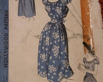 Vintage 1930s Hollywood Pattern No. 1809 / Size 10 Woman's Shift Dress With Belted Waist / Peasant Dress / FF and factory cut