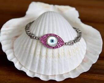 Evil Eye Rhodium CZ Bracelet
