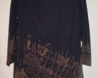 Navy Sueded Rayon dicharged contrast brown-49.00 Asymetrical hem-one of a kind