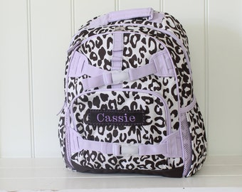 Large Size Pottery Barn Backpack With Monogram -- Lavender/Brown Cheetah