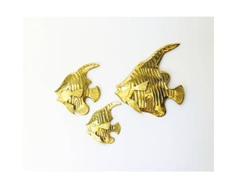 Set of 3 Vintage Brass Angel Fish Wall Hangings / Brass Wall Fish