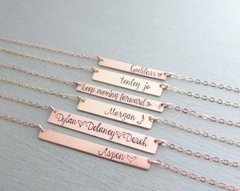 Personalized Bar Necklace With Your Custom Words or Numbers Of Choice. Gold, Rose Gold, or Silver Hand Stamped Bar. Name Plate Necklace.