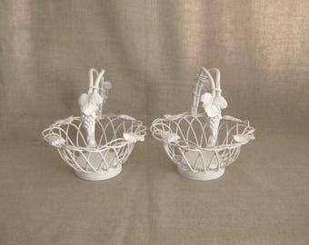 Summer Sale White Vineyard Flower Girl Basket / Slightly Shabby Basket for Wedding or Reception Decor