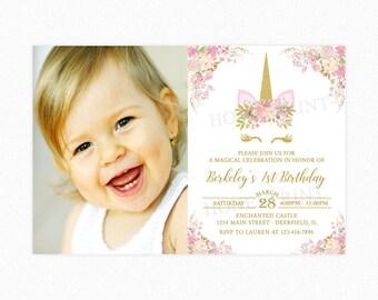 Unicorn Birthday Party Invitation, Unicorn Head Invitation, 1st Birthday, Girl, Gold Glitter, Pink, Photo, Printable or Printed