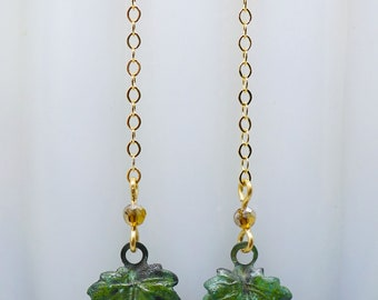 Spring Leaves // Verdigris Patina Leaf Earrings with AB Czech Glass on Gold Chain Shoulder Duster Boheme Bohemian Nature Woodland Vintage