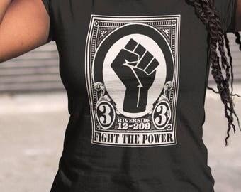 Fight the Power   T shirt screen print short sleeve  black shirt cotton