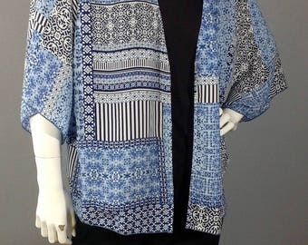 Blue and White print cardigan