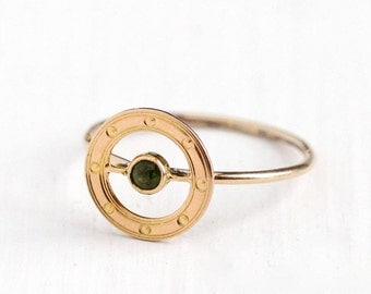 Antique 10k Rose Gold Peridot Target Ring - Early 1900s Size 5 1/2 Edwardian Art Deco Green Gemstone Halo Fine Stick Pin Conversion Jewelry
