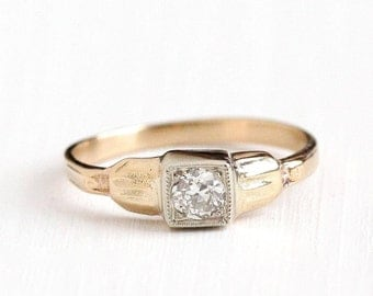 Sale - Vintage 14k White & Rosy Yellow Gold Old European Diamond Solitaire Ring - Size 3 3/4 Art Deco 1930s Fine Engagement Bridal Jewelry