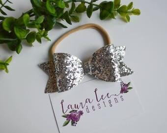 READY TO SHIP, Silver Glitter Bow on Nylon Headband or Clip, Newborn, Smash Cake, Sparkle Bow Clip, Toddler, Halloween, Fall Bow, Christmas