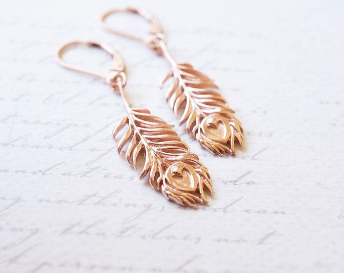 Featured listing image: Earrings, Feather Earrings, Rose Gold Earrings, Peacock Earrings, Dangle Earrings, Drop Earrings, Bridesmaid Earrings, Gift for Her, Gift