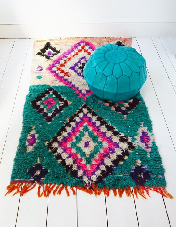 FREE SHIPPING>> Green Vintage Moroccan Boucherouite  Rug,  Beni Ouirain Rug,Moroccan Rug,Hand Woven Rug, Bohemian Rugs, Xmas Gifts,36 x 79''