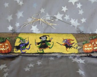 """Dancin' in the Moonlight, witch mice, hand painted barnwood, 19"""" X 3 1/2"""""""