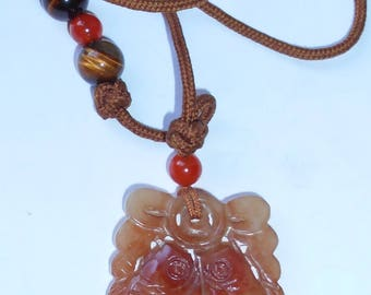 Vintage Carved Brown Jade Pendant with silk cord-symbolizes Wealth every Year.