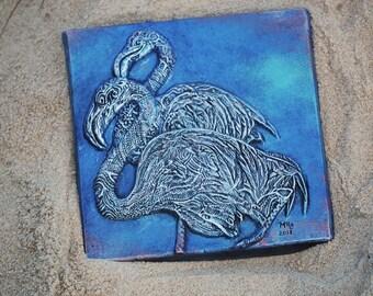 Flamingo Art, Tropical Decor Bird Sculpture, Summer Garden Sculpture, Flamingo Cast Stone Art, Outdoor Wall Art Sculpture