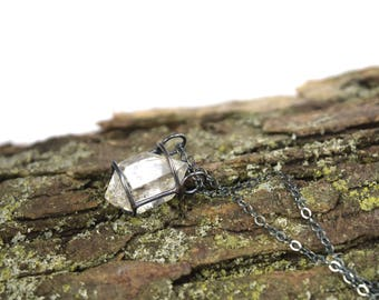 Genuine Herkimer Diamond Necklace in Oxidized Sterling Silver - Herkimer Diamond Jewelry - Raw Herkimer Necklace - Imperfect Beauty D