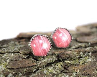 Rhodochrosite Stud Earrings - Rhodochrosite Earrings - Hexagon Studs - Stone Hexagon Earrings - Argentinian Rhodochrosite Jewelry