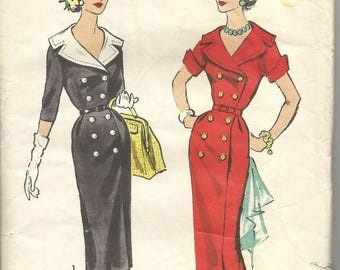 1950s Slim Sheath Dress Double Breasted Sleeve Variations V Neck Advance 8501 Uncut FF Size 18.5 Bust 39 Women's Vintage Sewing Pattern