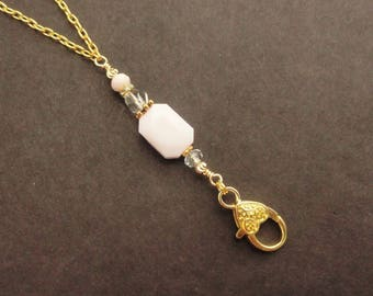 Gold Lanyard, Pink Lanyard, Gold Necklace Lanyard, Gold ID Badge Holder, Light Pink Crystal Lanyard, Unique Lanyard Teacher Lanyard