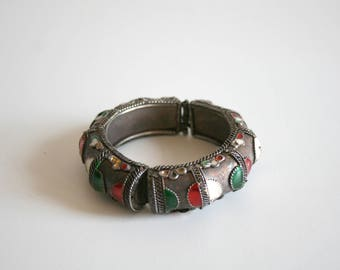 Rajasthan India Enamel Cuff Bracelet