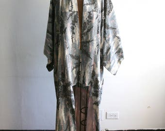 Japanese Gray Metallic Kimono