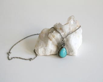 Navajo Signed Turquoise Teardrop Necklace