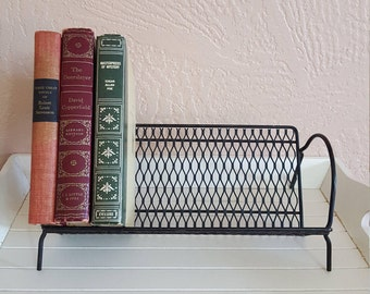 Black Book Rack - Metal Mesh - Desktop Book Holder - Oak Hill Vintage