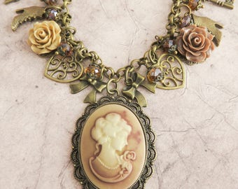 Cameo necklace, victorian style charm necklaces, vintage style jewelry, cameo jewelry, bronze jewelry, gift for her