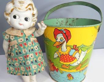 Vintage Chein Tin Sand Pail, Litho Beach Bucket, Vintage Toy Sand Pail, 1950s, Ducks, Frogs, Ladybug