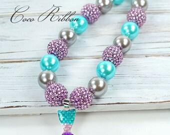 "16"" Aqua Mermaid Tail Chunky Beads Ocean Pendant Charm Bubblegum Necklace for Kid Child baby K09"