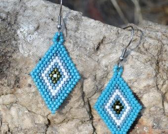 Beaded Earrings for Women - Blue - Beaded Earrings - Surgical Steel
