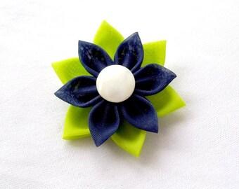 Chartreuse and Navy Hair Flower Tsumami Kanzashi Barrette