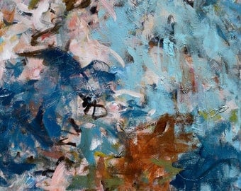 Large Abstract Painting Expressionism Large painting gestural painting Teal pink aqua indigo rust  Say You Will  24x30