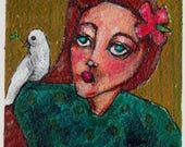 "girl and white dove original 4x6"" a2n2koon mixed media painting on watercolor paper matted & framed in 5x7"" glass clip frame woman portrait"