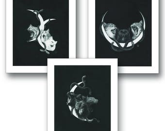 Stephanie Inagaki Screaming Kitties Limited Edition Print Set