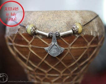 Xmas in July Sale One of a Kind Sterling Palmier Necklace with Yellow Tibetan Beads