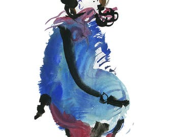 """Original Watercolor, Figure Painting, Abstract Art, Fashion Illustration, Gouache Painting, 6"""" x 6"""" - 119"""