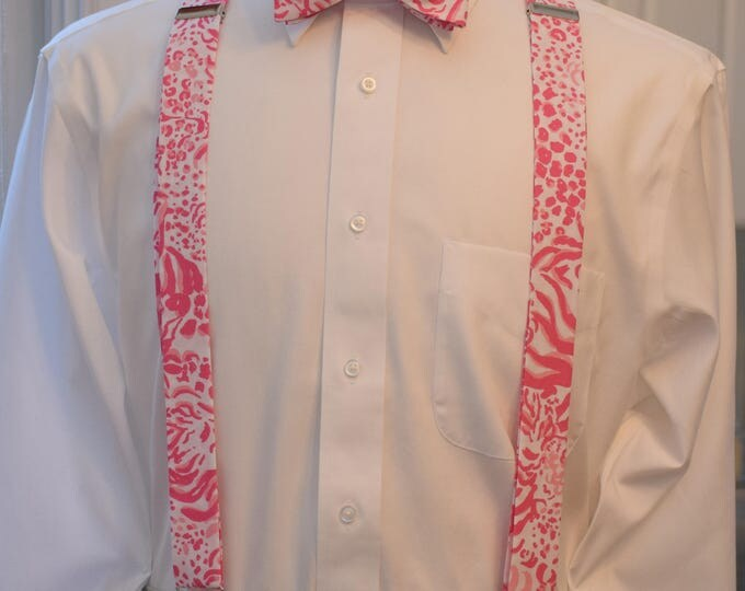 Men's Suspenders & Bow Tie set, Valentine's Day gift, Lilly pink/white Get Spotted, clip on suspenders, mens prom wear, groom/groomsmen gift