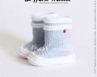 Chaussons bébé laine style bottes de pluie bleu ciel La Mare'maille hommage à la marque Aigle, inspirées du modèle Lolly Pop