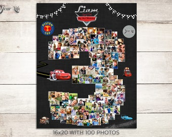 Cars 3 Birthday Photo Collage, Three Year Photo, Cars 3rd Birthday, Cars 3 Party Decor