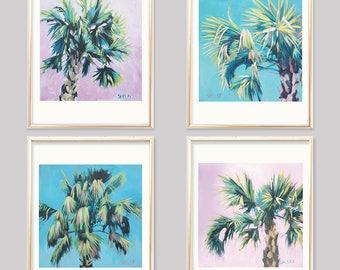 Set Of 4 Palm Tree prints, Tree Print Bundle, Tropical Tree Wall Art Set, 4 Palm Fern Prints, Tropical Fern Prints Set Of Four