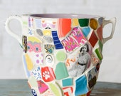 Whimsical Mosaic Vase with Bright Color READY TO SHIP