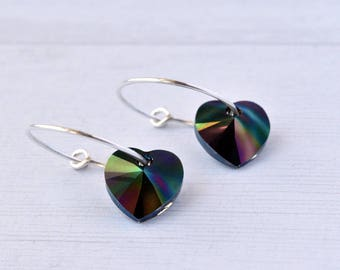 Silver Hoop Earrings - Rainbow Heart Earrings - Gift for Her - Crystal Earrings - Sterling Silver - Drop Earrings
