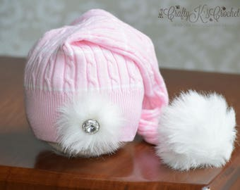 Newborn Girl Photo Prop Hat with Faux Fur Pom Pom Tassel and Silver Rhinestone Button Upcycled Hat for Baby Girl Pink & White READY TO SHIP