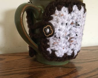 Button Mug Cozy, Crochet Mug Cozy, Knit Mug Cozy, Ready to Ship, Housewarming Gift, Birthday Gift, Valentine's Gift, Coffee Cozy, Tea Cozy
