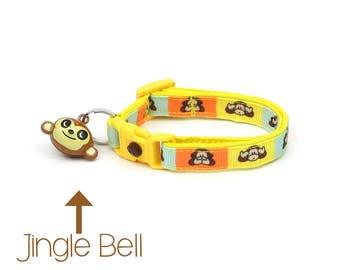 Monkey Cat Collar - Cheeky Monkeys - Small Cat / Kitten Size or Large Size